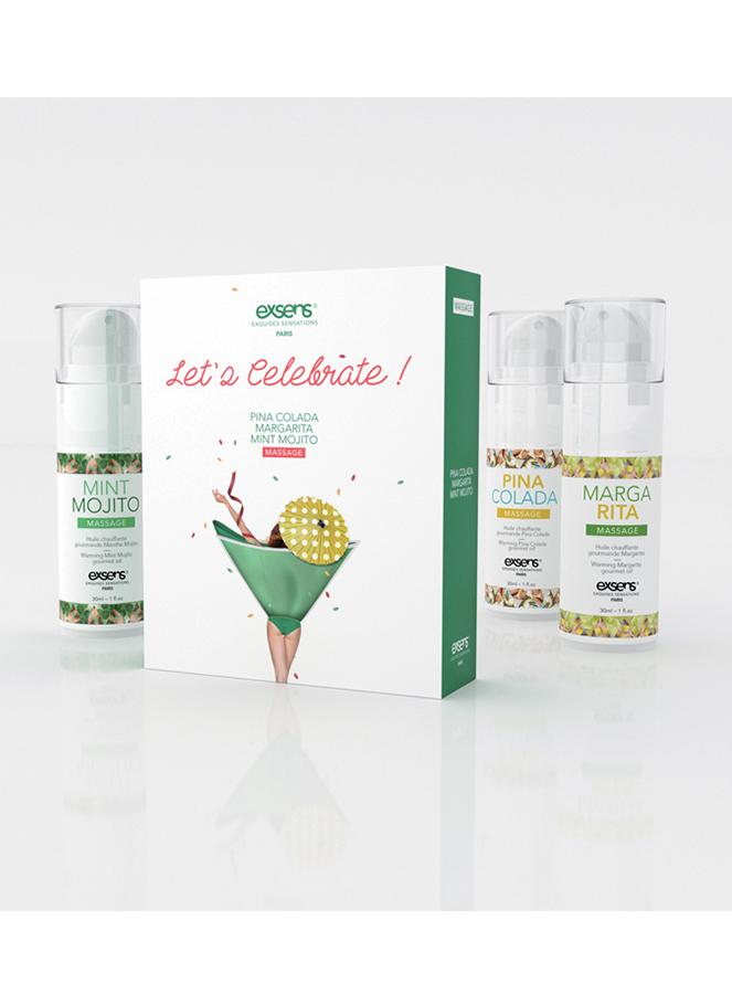 Coffrets 3 huiles de massage  -  Let's celebrate